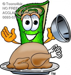 Clipart of Carpet Cartoon Character With Thanksgiving Turkey Dinner