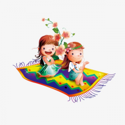 Cartoon Girl, Flying Carpet, Girl, Flowers PNG Image and Clipart for ...