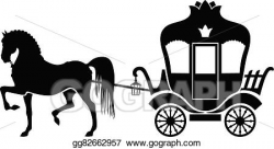 Vector Art - Silhouette carriage and horse. Clipart Drawing ...