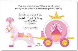 Pink Princess Carriage Birthday Invitation