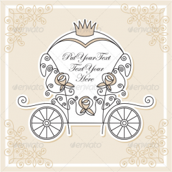 Invitation vector design with wedding carriage by milyana   GraphicRiver