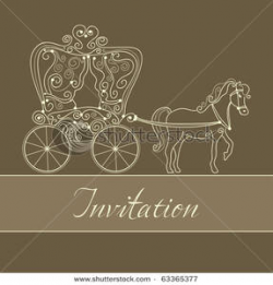 Invitation Card with Carriage Clipart Picture