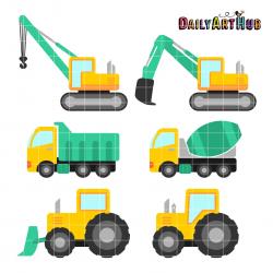 Construction Vehicles Clipart - Letters