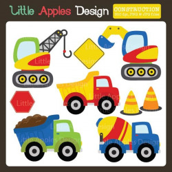 Construction Clipart - brightly colored construction vehicles for ...