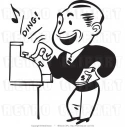 Retro Man Operating a Cash Register Making a