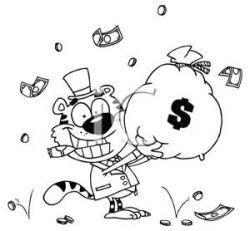 A Cute Tiger Rolling In Cash Holding a Bag of Money - Royalty Free ...