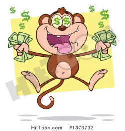 Cartoon Clipart of a Rich Monkey Mascot with Dollar Eyes, Holding ...