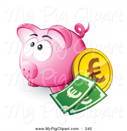 Swine Clipart of a Cute Pink Piggy Bank with Cash and a Euro Coin by ...
