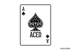 Swirls and Classic Black Spade Ace Poker Cards Casino Illustration ...