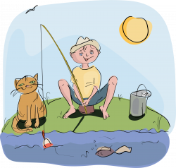 Clipart - boy and cat fishing