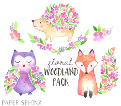 Flower Woodland Animals Clipart I Woodland Watercolor Clipart