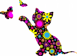 Clipart - Floral Kitten Playing With Butterflies Silhouette