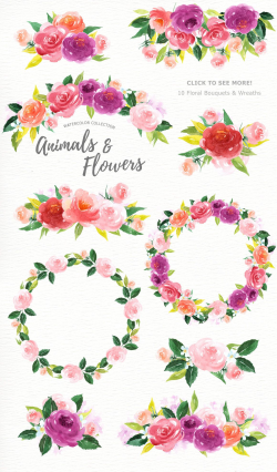 Animals and Flowers Watercolor Clip Art, Woodland Animals, Kids ...