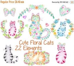 Cute watercolor cats clipart: