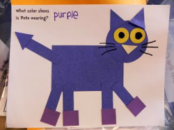 Pete the Cat craft made out of shapes. The pattern is a free ...