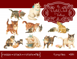 Digital Clipart instant download Vintage Cat and Kitten