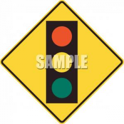 Yellow Traffic Signal Ahead Caution Sign - Royalty Free Clipart Picture