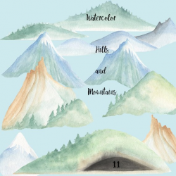 Watercolor mountains and hills clip art, woodland hills, snow peaks ...