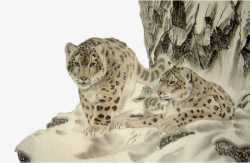 Two Snow Leopards In The Cave, Cave, Two Snow Leopard, Traditional ...