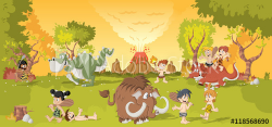 Group of cartoon cavemen on forest with volcano and funny cartoon ...