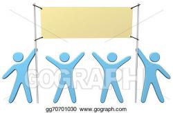 Stock Illustration - People team celebrate holding banner ad ...