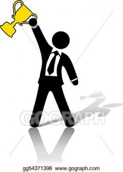Vector Clipart - Businessman celebrates business success trophy ...