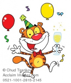 Clipart Illustration of A Tiger Drinking Champagne and Celebrating ...