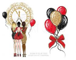 New Year Clip Art Fashion Illustration, Party clipart, Celebration ...