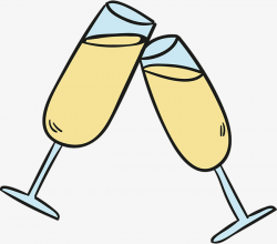 Cartoon Champagne Glass, Celebrate, A Toast, Cheers! PNG and Vector ...