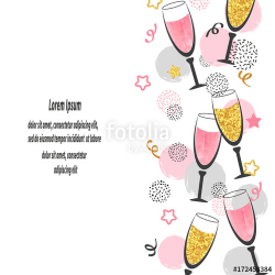 Champagne glasses background with place for text. Celebration vector ...