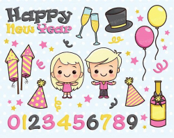 New Year Clipart, Winter, New Year's Eve, Christmas, Balloon, Party ...
