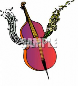 Music and Money Coming From a Cello - Royalty Free Clipart Picture