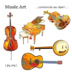 Music Clipart, Music Clip Art, Cello Clipart, Piano Clipart, Violin  Clipart, Banjo Clipart, Guitar Clipart, Digital Download