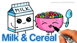 How to Draw Milk and Cereal step by step Cute and Easy - Cartoon ...