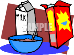 Cartoon Style Clipart Picture of a Quart of Milk and a Box of Cereal ...