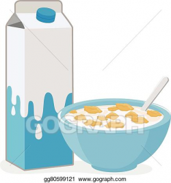 Vector Illustration - Bowl of cereal and milk carton. Stock Clip Art ...