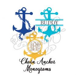Chain Anchor Monogram Set SVG DXF digital download files