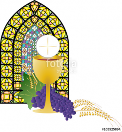 Eucharist symbol of bread and wine, chalice and host, with ...