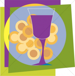 Colorful Communion Wafers and Cup | Communion Clipart
