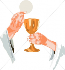 Cross Chalice Lifted By Priest | Communion Clipart