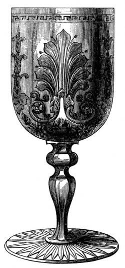 vintage wine glass clip art, antique wine goblet image, victorian ...