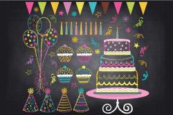 Chalkboard Birthday Party Clip Art ~ Illustrations ~ Creative Market