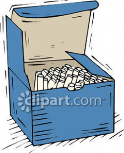 Box of White Chalk Sticks - Royalty Free Clipart Picture