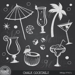CHALKBOARD COCKTAILS Clipart Chalk Party Clip Art, Instant Download ...