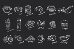 Food hand-drawn chalk on blackboard ~ Web Elements ~ Creative Market