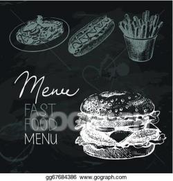 EPS Illustration - Fast food hand drawn chalkboard design set. black ...