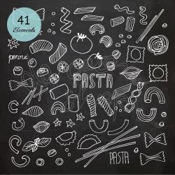 Chalkboard Pasta Clipart/Italian Kitchen/Spaghetti