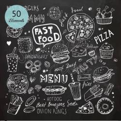 Chalk Hand Drawn Fast Food Clip Art/Chalkboard Clipart/Doodle