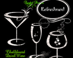 Items similar to Chalkboard WINE GLASSES Clipart, Chalk ClipArt ...