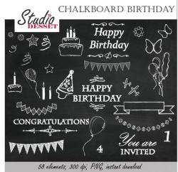 Chalkboard Clipart Birthday, Chalk Happy Birthday, Party Invites ...